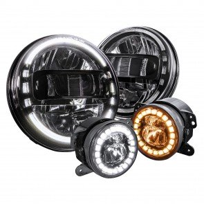 "JEEP HDL1552-BK 7"" Headlight + FGL1032-BK 4"" Fog Light - BLACK"