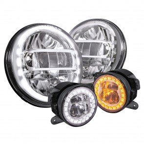 "JEEP HDL1552-CH 7"" Headlight + FGL1032-CH 4"" Fog Light - CHROME"