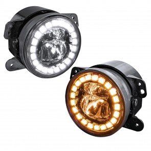 "4"" Round FGL1032 HALO WHITE DRL AMBER Turn Signal Fog Light Set - BLACK"