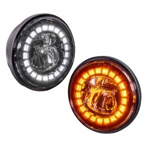 "4.5"" Round FGL2062 HALO WHITE DRL AMBER Turn Signal Fog Light Set - BLACK"