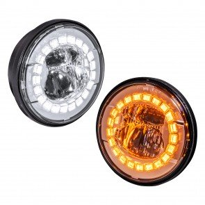"4.5"" Round FGL2062 HALO WHITE DRL AMBER Turn Signal Fog Light Set - CHROME"