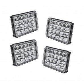 "4pc 6"" x 4"" Rectangular 45W LED Headlight"