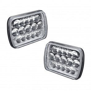 "2pc OLS 5x7"" (7x6) 45W 15-LED Sealed Beam Headlight Assembly w/Chrome Housing"