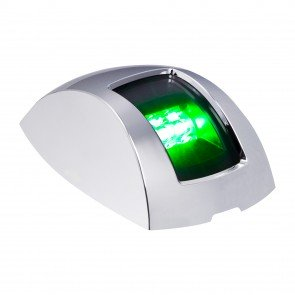 Chrome Plated Side-Mount Marine Navigation Starboard Lamp - Green