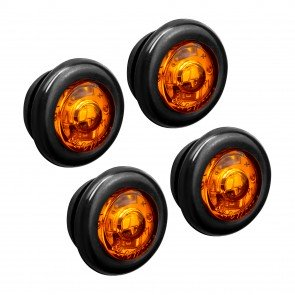 "4pc 3/4"" 1 LED Round Clearance Marker Light - AMBER"