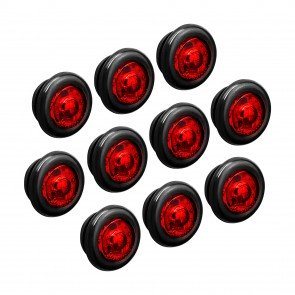 "10pc 3/4"" 1 LED Round Clearance Marker Light - RED"