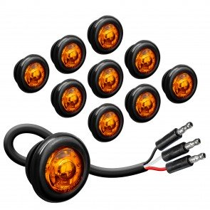 """10pc 3/4"""" 1 LED Round Clearance Marker Light with TBT Function - AMBER"""