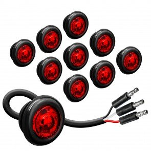 """10pc 3/4"""" 1 LED Round Clearance Marker Light with TBT Function - RED"""