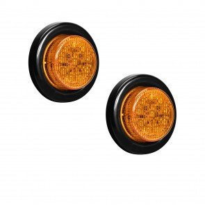 "2pc 2"" 10-LED Round Clearance Side Marker - Amber"