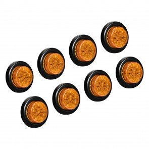 "8pc 2"" 10-LED Round Clearance Side Marker - Amber"