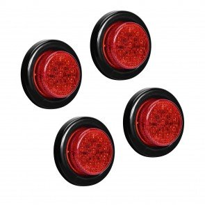 "4pc 2"" 10-LED Round Clearance Side Marker - Red"