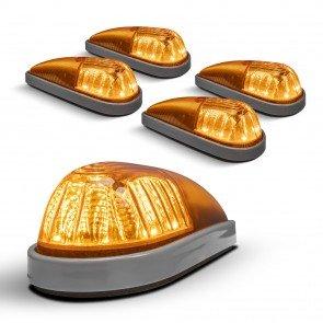 5pc Teardrop Style Amber Cab Light Kit - Gray Base