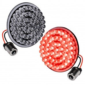 "2pc 2"" Round 1156 Black PCB Harley Davidson Motorcycle RED Rear Turn Signal Light Panel"