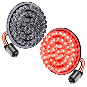 "2pc 2"" Round 1157 Black PCB Harley Davidson Motorcycle RED 60% + RED 100% Rear TBT Light Panel"