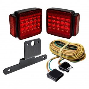 "Under/Over 80"" Wide Trailer Compatible Built-in Side Reflector Square Combination Tail Light Kit"