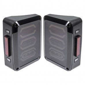 3-Hexagon Design 144-LED Tail Light - Smoked (Fits 2007-2018 Jeep Wrangler JK & Unlimited)
