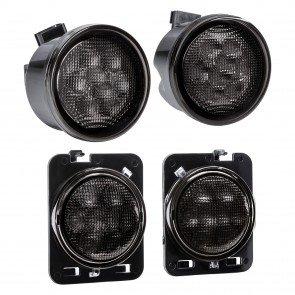 Amber 8-LED Smoked Turn Signal Light w/ DRL + Side Marker 4pc Kit (Fits 2007-2018 Jeep Wrangler JK & Unlimited)
