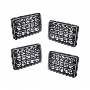 "4pc 6"" x 4"" 45W Sealed Beam Headlight - Black Housing"