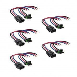"""5pc 3-Way 12 AWG 10"""" Wire Weather Pack Connector"""