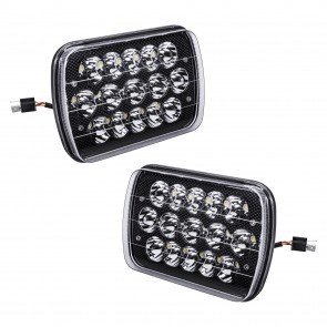 "2pc 7"" x 5"" 45W LED Sealed Beam Headlight - Black Housing"