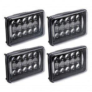 """4pc 6"""" x 4"""" 48W Headlight w/ DRL"""