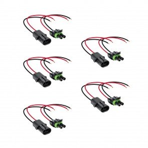 """5pc 2-Way 16-AWG 10"""" Wire Weather Pack Connector"""