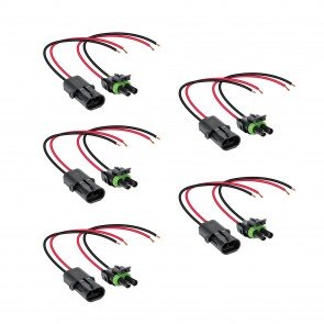 "5pc 2-Way 12 AWG 10"" Wire Weather Pack Connector"