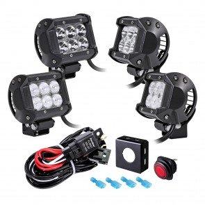 "CRUIZER 4"" 18W LED Light Bar + 8ft Wiring Harness 5pc Kit"