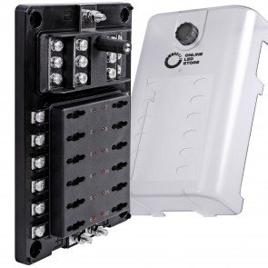 12-Way 200A Power/Ground Input LED Indicator ATC/ATO/ATF Blade Fuse Box