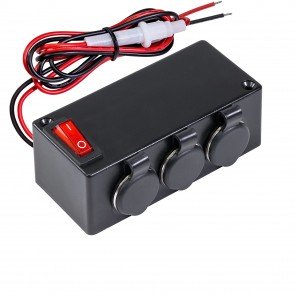 3-Port Cigarette Lighter Outlet Extension Box w/ ON/OFF Switch