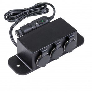 3-Port Cigarette Lighter Outlet Extension Box w/ Cigarette Plug Power Input