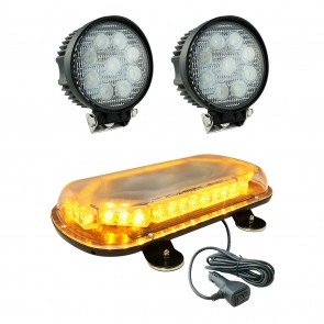 "SolarBlast 18"" 34W Mini Light Bar + Round 27W Spot Work Light 3pc Kit"