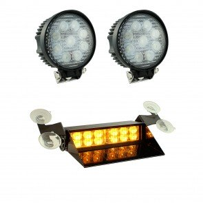 "SolarBlast 8"" 12W Dash Light + Round 27W Spot Work Light 3pc Kit"