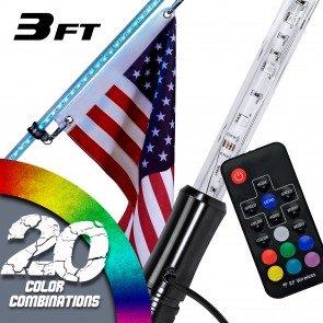 RGB Color 100-LED Remote Control LED Whip w/ Flag - 3ft