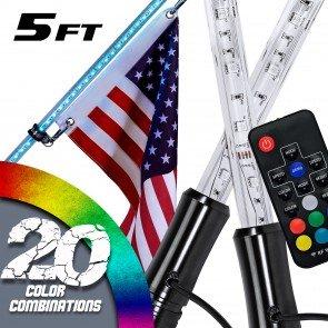 2pc RGB Color 174-LED Remote Control LED Whip w/ Flag - 5ft