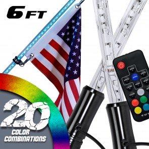 2pc RGB Color 210-LED Remote Control LED Whip w/ Flag - 6ft