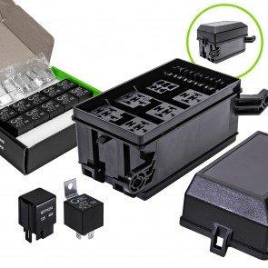 12-Slot Relay Box + 5-Pin Relay + 4-Pin Relay 12pc Kit