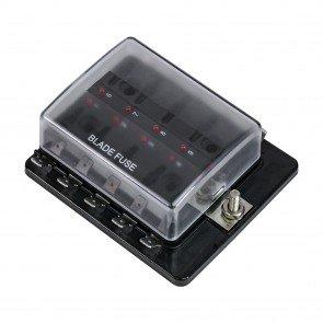 10-Way 100A LED Indicator ATC/ATO Blade Fuse Box w/ Cover