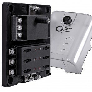 6-Way 180A Power/Ground Input LED Indicator ATC/ATO/ATF Blade Fuse Box