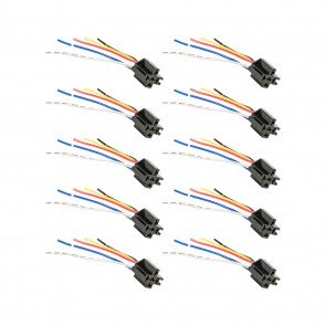 10pc SPDT Interlocking Bosch Style 5-Pin Relay Socket Harness Base w/ Wires