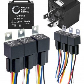 6pc 12V DC 40/30A SPDT Bosch Style 5-Pin Relay + Harness Base w/ Wires Kit