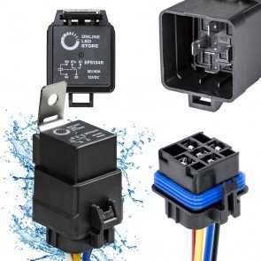 14V DC 40/30A SPDT 5-Pin Waterproof Relay + Harness Base w/ Wires Kit
