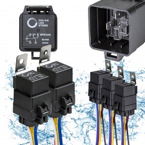5pc 12-16 AWG SPDT 5-Pin Waterproof Relay Socket Harness Base w/ Wires