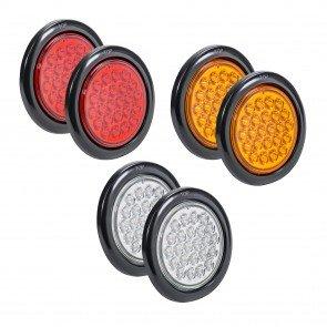 "4"" 24-LED Round Amber + 4"" 24-LED Round Red + 4"" 24-LED Round White Tail Light 6pc Combo"