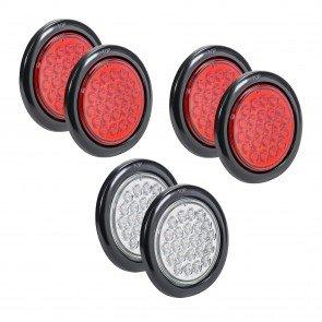 "4"" 24-LED Round Red + 4"" 24-LED Round White Tail Light 6pc Combo"