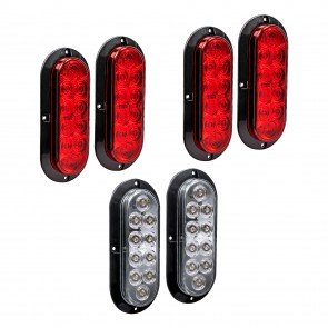 "6"" 10-LED Oval Surface Mount Tail Light Red + White 6pc Combo"