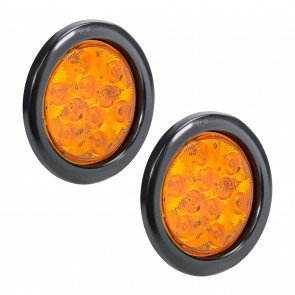 "2pc 4"" 10-LED Round Tail Light - Amber"