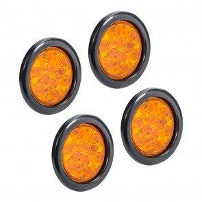 "4pc 4"" 10-LED Round Tail Light - Amber"