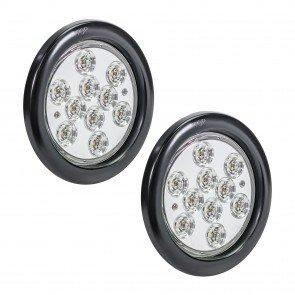 "2pc 4"" 10-LED Round Tail Light - White"