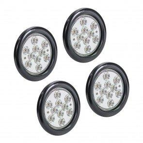 "4pc 4"" 10-LED Round Tail Light - White"